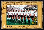 Postage stamp Yemen 1970 Team of West Germany — Stok fotoğraf