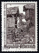 Postage stamp Austria 1978 Woodcut by Switbert Lobisser — Stock Photo