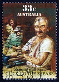 Postage stamp Australia 1986 Click Go the Shears — Stock Photo