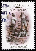 Postage stamp Australia 1981 License Inspected, by S. T. Gill — Stock Photo