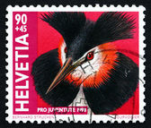 Postage stamp Switzerland 1998 Great Crested Grebe, Water Bird — Stock Photo