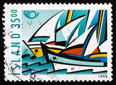 Postage stamp Iceland 1998 Sailboats — Stock Photo