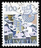 Postage stamp Switzerland 1982 Virgo, Jungfrau Monch Eiger Mount — Stock Photo