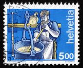 Briefmarke Schweiz 1993 Käser, Industrie — Stockfoto