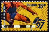 Postage stamp Iceland 1997 Hurdles, European games — Stock Photo