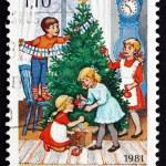 Postage stamp Finland 1981 Decorating Tree, Christmas — Stock Photo