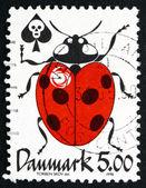Postage stamp Denmark 1998 Ladybug, Reduce Poison — Zdjęcie stockowe