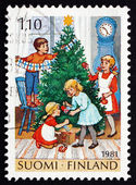 Postage stamp Finland 1981 Decorating Tree, Christmas — Stock Photo