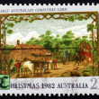 Postage stamp Australia 1982 Early Australian Christmas Card, 18 — Stock Photo