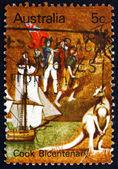Postage stamp Australia 1970 Endeavour, Landing Party — Stock Photo