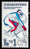 Postage stamp Czechoslovakia 1980 Downhill Skiing — Stock Photo