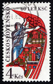 Postage stamp Czechoslovakia 1981 Worker Holding Banner — Stock Photo