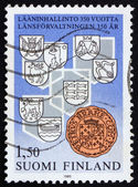 Postage stamp Finland 1985 Provincial Arms and Count's Seal — Stock Photo
