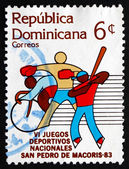 Postage stamp Dominican Republic 1983 Bicycling, Boxing, Basebal — Stock Photo