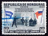 Postage stamp Honduras 1959 Assassination of the President Linco — Stock Photo