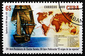 Postage stamp Cuba 2009 Ship and Map — Foto Stock