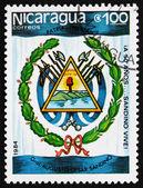 Postage stamp Nicaragua 1984 Augusto Cesar Sandino, Arms — 图库照片