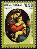 Postage stamp Nicaragua 1983 Madonna of the Chair, by Raphael — Stock Photo