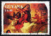 Postage stamp Guyana 1991 Madonna and Child with Angels — Stock Photo