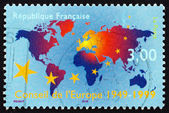 Postage stamp France 1999 Map of the World — Stock Photo