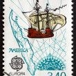 Postage stamp France 1992 Sailing Ship and Map — Stock Photo