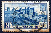 Postage stamp France 1938 Medieval Walls of Carcassonne — Stock Photo