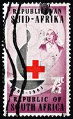Postage stamp South Africa 1963 Centenary Emblem and Nurse — Stock Photo