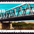 Postage stamp GDR 1976 Elbe River Bridge, Rosslau — Stock Photo