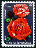 Postage stamp Cuba 1984 Red Roses, Mothers' Day — Stock Photo