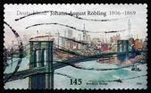 Postage stamp Germany 2006 Brooklyn Bridge, by John Augustus Roe — Stock Photo