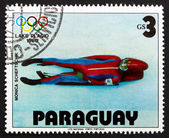Postage stamp Paraguay 1979 Monica Scheftschik, Luge — Stock Photo