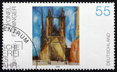 Postage stamp Germany 2002 Halle Market Church, by Lyonel Feinin — Stock Photo
