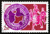 Postage stamp France 1984 Guadeloupe, Map — Stock Photo