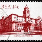 Postage stamp South Africa 1986 Johannesburg City Hall — Stock Photo