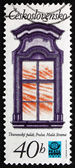 Postage stamp Czechoslovakia 1977 Window, Thun Palace — Stock Photo