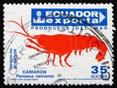 Postage stamp Ecuador 1986 Shrimp, Export — Stock Photo