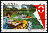 Postage stamp Nicaragua 1983 Red Cross Flood Rescue — Stock Photo