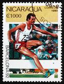 Postage stamp Nicaragua 1990 Steeplechase, Barcelona 1992 — Stock Photo