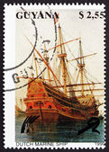 Postage stamp Guyana 1990 Dutch Marine Ship, Sailing Ship — Stock Photo