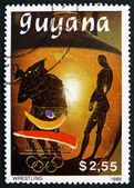 Postage stamp Guyana 1989 Wrestling, Barcelona 1992 — Stock Photo