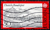 Postage stamp Germany 1977 Rhine, Siebengebirge and Train — Stock Photo