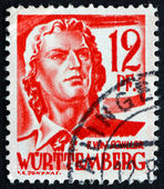 Postage stamp Wurttemberg, Germany 1948 Friedrich von Schiller — Stock Photo