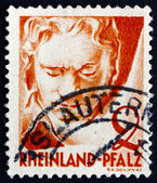 Postage stamp Rhine Palatinate, Germany 1948 Ludwig van Beethove — Stock Photo