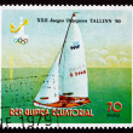 Постер, плакат: Postage stamp Equatorial Guinea 1980 Sailboat