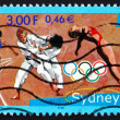 Postage stamp France 2000 Relay Racer, Judo, Diving — Stock Photo
