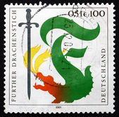 Postage stamp Germany 2001 Furth Dragon Lancing Festival — Stock Photo