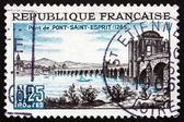 Postage stamp France 1966 Rhone Bridge, Pont-Saint-Esprit — Stock Photo