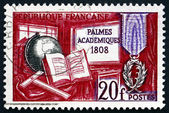 Postage stamp France 1959 Symbols of Learning and Medal — Stock Photo