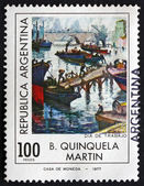 Postage stamp Argentina 1977 Labor Day, by B. Quinquela Martin — Stock Photo