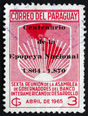 Postage stamp Paraguay 1965 Map of Americas — Stock Photo